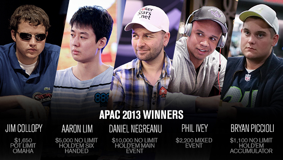 The reigning WSOP APAC Main Event Champion is also the reigning WSOP Player of the Year, six-time bracelet winner Daniel Negreanu