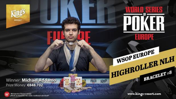 MICHAEL ADDAMO WINS €25,500 NO-LIMIT HOLD