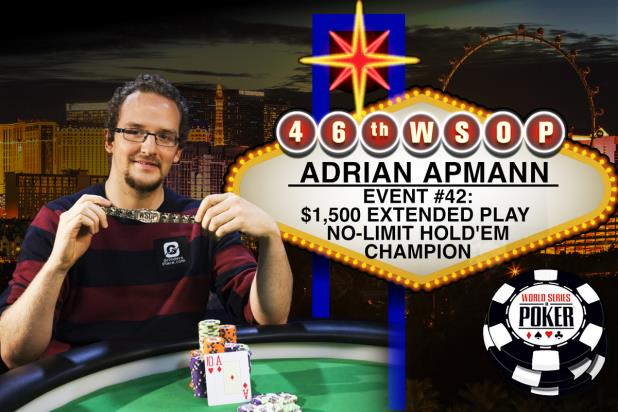 GERMAN PLAYER ADRIAN APMANN NEEDS EXTENDED PLAY TO WIN A WSOP GOLD BRACELET