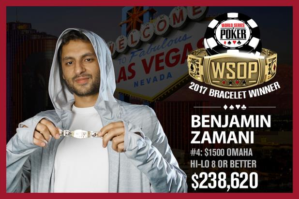 BENJAMIN ZAMANI WINS EVENT #4, $1,500 HI-LO 8 OR BETTER