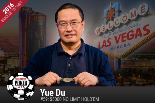 Article image for: YUE GETS HIS DUE ....YUE DU WINS $5K NLHE GOLD BRACELET AT 2016 WSOP