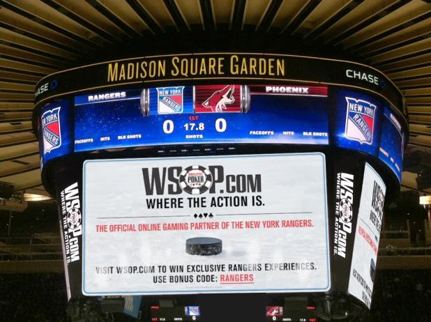 WSOP.COM NAMED EXCLUSIVE ONLINE GAMING PARTNER OF NY RANGERS