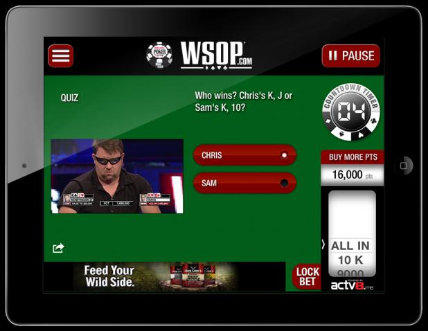CIE and ACTV8.me LAUNCH 2nd SCREEN COMPANION APP FOR WSOP ESPN TELECASTS
