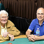 Russell Moncrief, oldest player in the Seniors Event with Robert Varkonyi, Winner of the 2002 Main Event