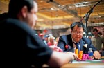 Bill Chen looks up David Baker at the final table of event #37