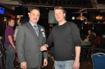 Main Event Champion Scott Stanko with Horseshoe Council Bluffs Poker Room Manager Tom Wiese.