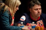 Jennifer Harman and Sergey Altbregin focus in on their next card. Both return for Day 3.
