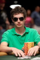Jeff Williams works hard to protect his giant stack of chips as he sits at the Event 17 final table