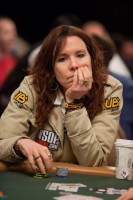 Annie Duke watches the river to see if she has won another hand