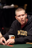 Jeffrey Tebben looks surprised and unhappy when his opponent shows his cards