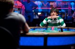 Ayaz Mahmood battles it out on the final heads up table of Event 35