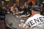 Mark Smith (foreground) found himself four-handed with the chip lead. He went on to finish in third place.