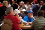 Kevin Schaffel and his table-mates play a hand in Event 42