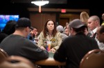 Annie Duke looks serious and in command at her table.