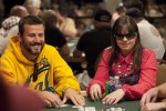 Annette Obrestad and Joe Sebok share a laugh at the $1,500 Pot-Limit Hold 'Em event. Obrestad, 21, is making her first appearance at the WSOP this year.