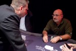 Ever the players' advocate, WSOP director Jack Effel listens to Mori Eskandani.