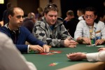 Scotty Nguyen and Daniel Alaei made one of many great tables to watch at the start of the tournament.