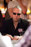 Joe Beevers doing some soul-reading at the WSOPE Main Event.