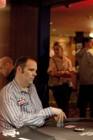 The gears are always turning:  Howard Lederer heads up in the second round of the heads-up event.