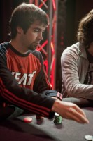 Jason Mercier, sporting the Miami Heat shirt, is representing Florida and the young guns in the PLO tourney.