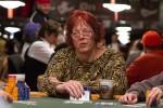 Linda Johnson peeks at her cards