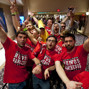 Supporters of Robert Salaburu enter the Penn & Teller Theater