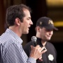 Phil Gordon presenting Phil Hellmuth the award for biggest contributor for  Bad Beat on Cancer