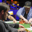 Ben Palmer stacks the chips after being all in
