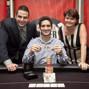 Jack Effel, Jonathan Aguiar (winner), Lucy Denos after Aguiar wins the WSOPE Event 5.