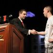 Jack Effel congratulates WSOP Event 2 winner Trevor Pope