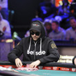 Felix Stephensen stacks chips after winning a big pot against Jorryt van Hoof