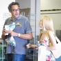 Brad Garrett makes his way to the Amazon from the Pavilion as his table breaks.