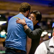 Scott Seiver receives a hug from David Chiu after being eliminated in 2nd. place.