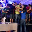 Fabio Coppola celebrates with his rail after eliminating Andrey Zaichenko