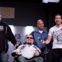 Michael Stevens cracks a joke with Jonathan Duhamel, Mike Buttice, and Dave Hughes
