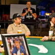 Poker Pro Chad Brown pays tribute to Dr. Jerry Buss. A portrait of Buss on the table in foreground.