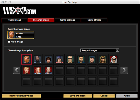 WSOP   Software Settings Overview